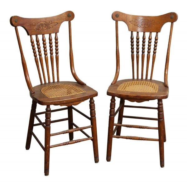 Pair of Carved Wood Chairs with Wicker Seat