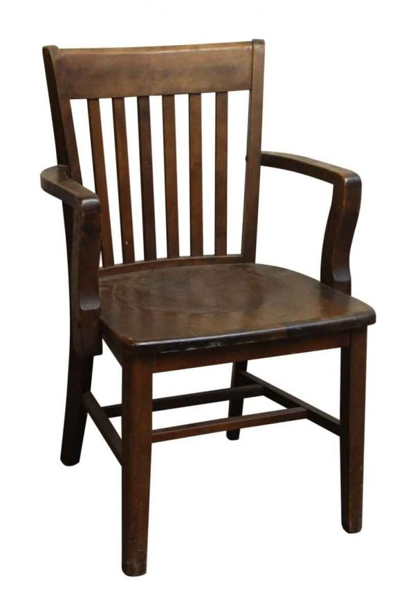 Dark Stained Wood Bankers Chair