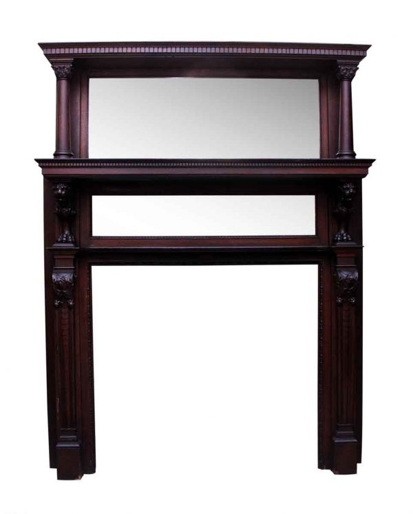 Carved Figural Wood Mantel with Double Beveled Mirrors