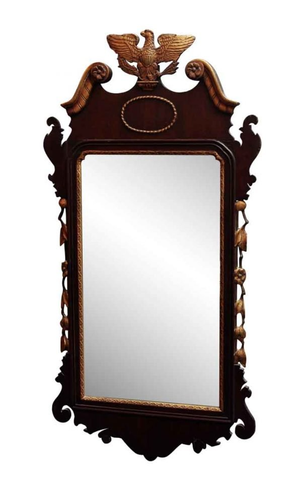 Antique Detailed Wood Mirror with Eagle Motif