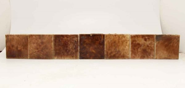 Set of 13 Square Brown Tiles