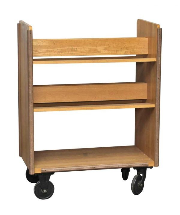 Wheeled Solid Maple Book Shelf Library Cart