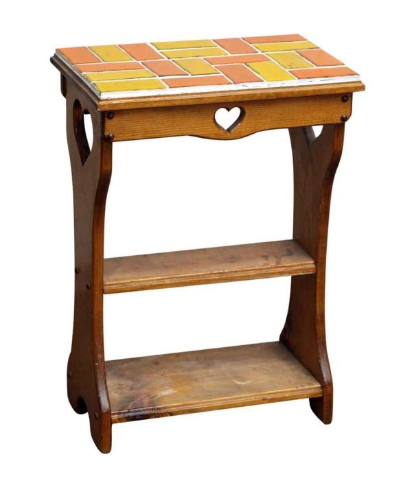 End Table with Heart Cut Outs and Colorful Tile Top