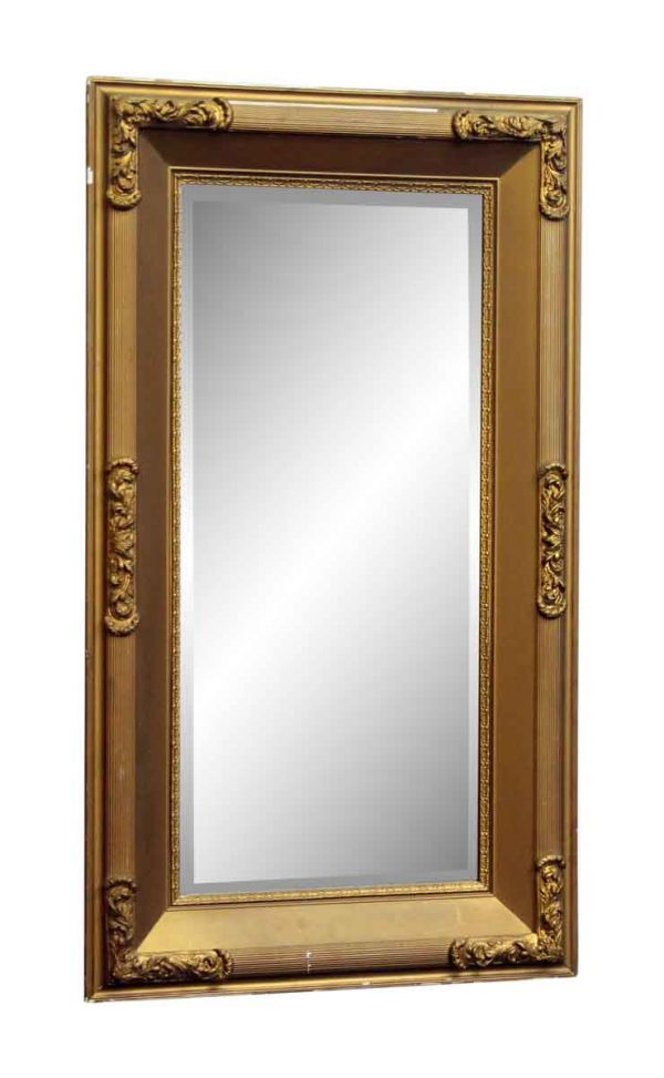 Gold Painted Wood Mirror with Beveled Glass