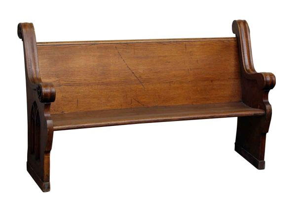 Refinished Wooden Pew with Carved Side Details