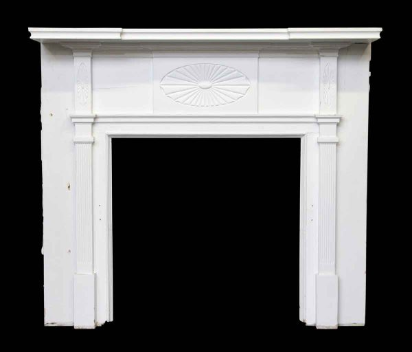 Federal Style White Wooden Mantel