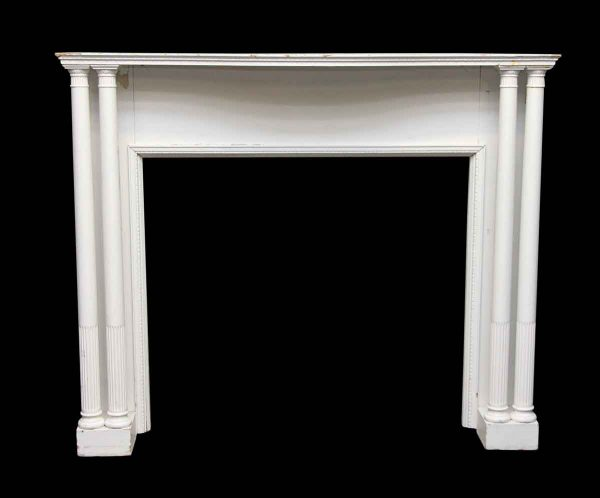 Wooden White Mantel with Four Columns