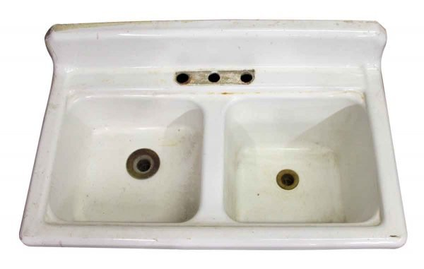 White Porcelain Sink with Two Basins