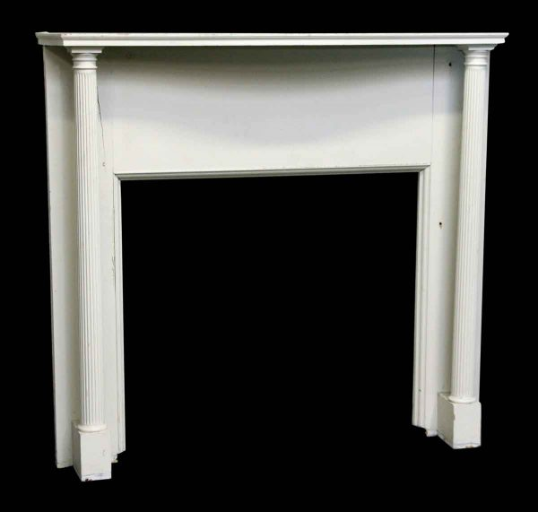 White Wood Mantel with Columns