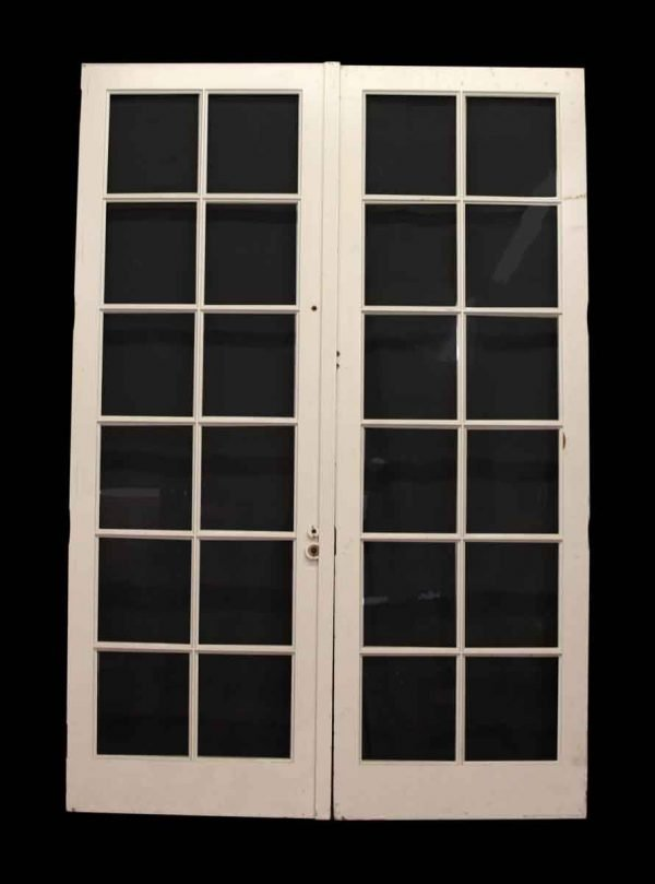Pair of Painted Wood Doors with 12 Glass Panels