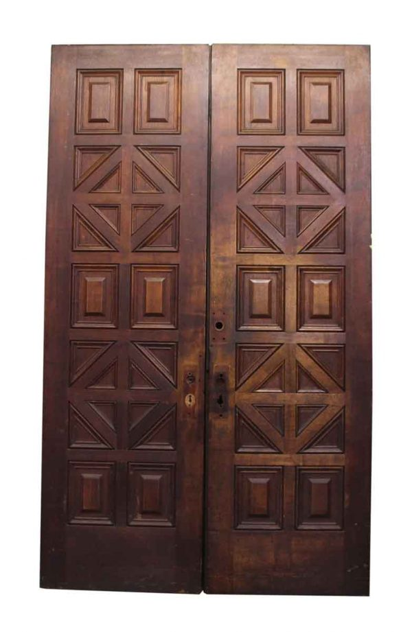 Pair of Carved Wooden Geometric Doors