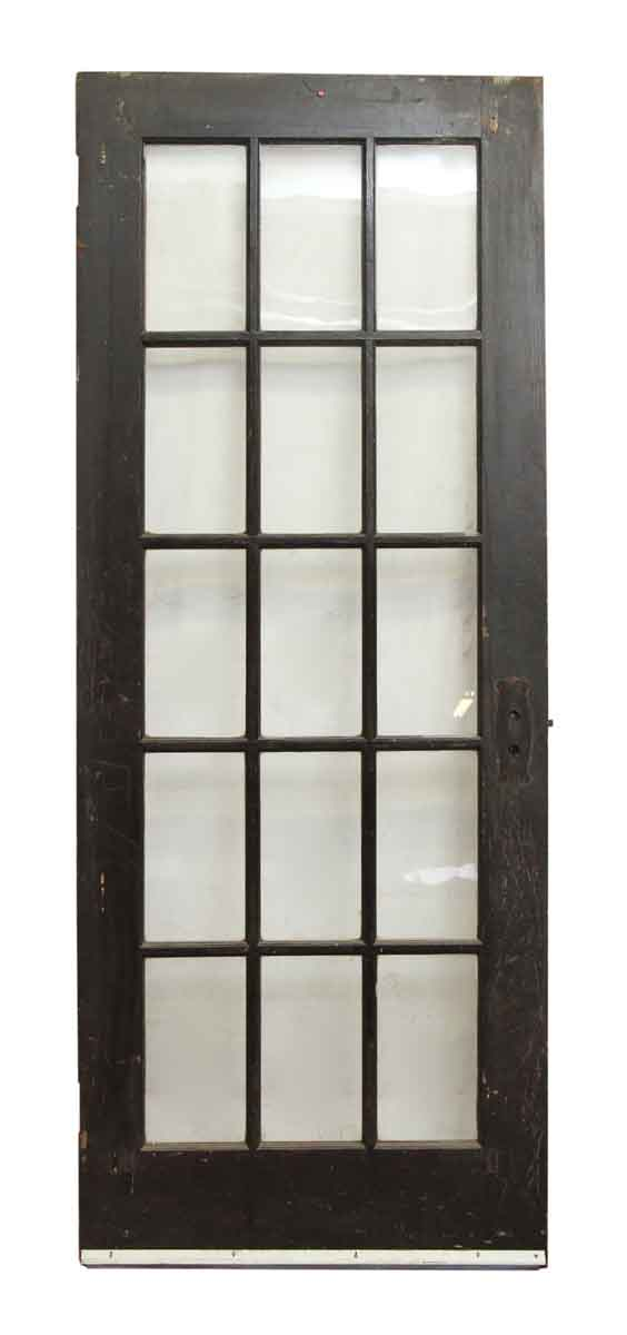 Black Wood French Door with 15 Panels