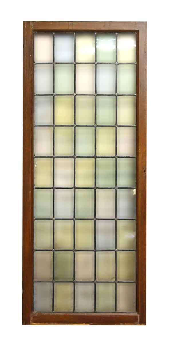 Wood Frame Pastel Stained Leaded Glass Window