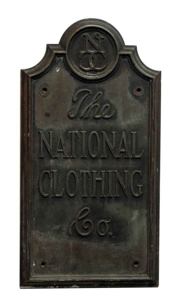 the National Clothing Co. Iron Plaque
