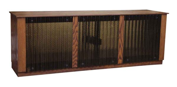 Chestnut Console with Corrugated Glass
