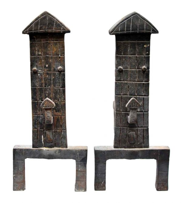 Pair of Hand Forged Arrow Shaped Andirons