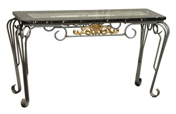 Metal Console Table with Beveled Glass Insert