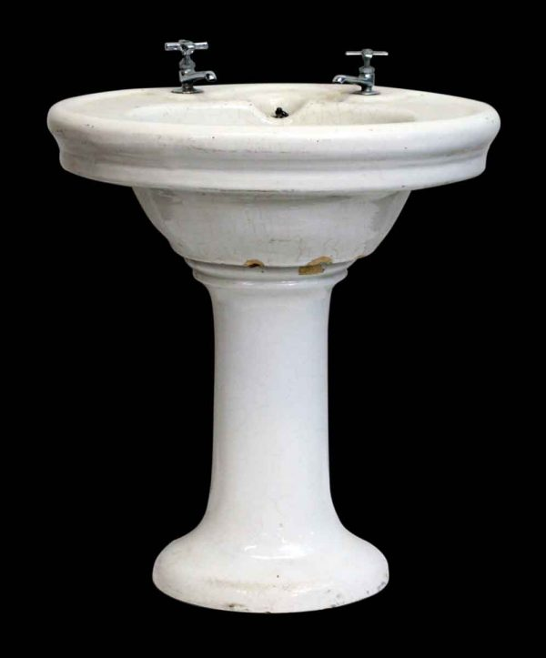 White Pedestal Sink with Crackled Glaze