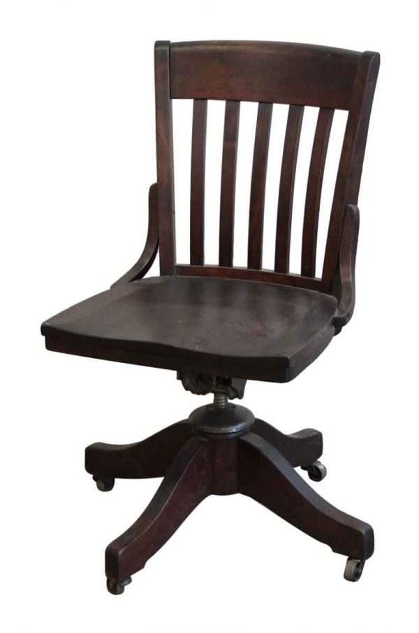 Dark Stained Wood Swivel Chair with Wheels