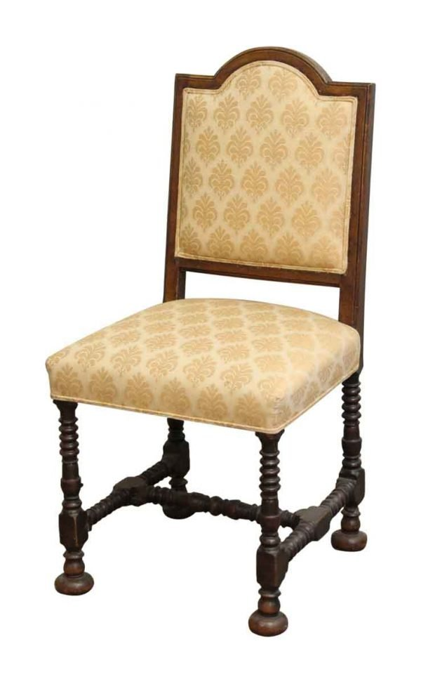 Peach Upholstered Wood Chair