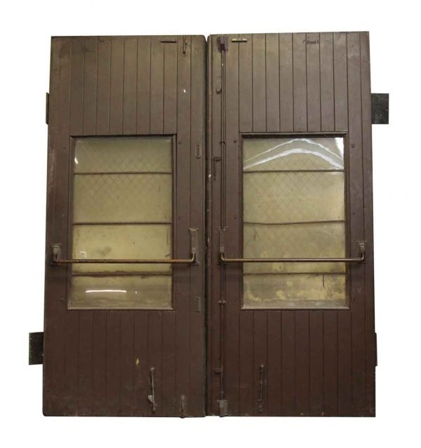 Wooden Barn Style Doors with Single Glass Panel