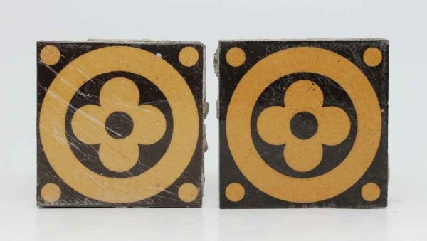 Pair of Brown & Tan Decorative Floral Tiles