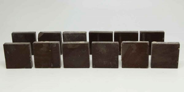 Set of 12 Small Dark Brown Square Tiles