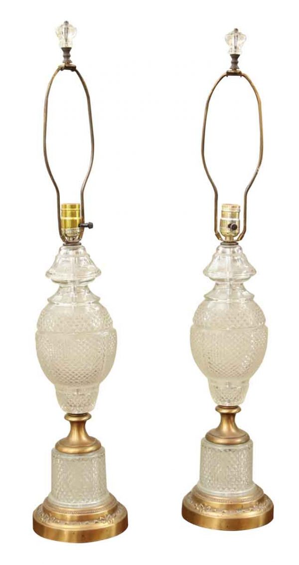 Pair of Vintage Cut Glass Table Lamps