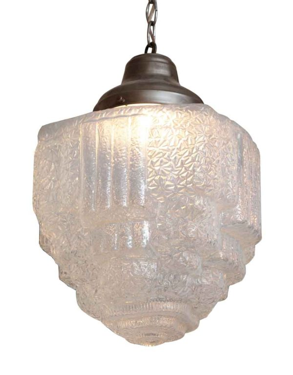 Opalescent Cast Glass Art Deco Pendant Light