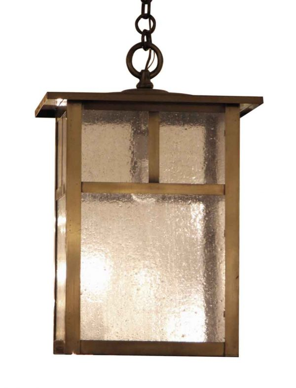 Arts & Crafts Brass Lantern with Textured Clear Glass