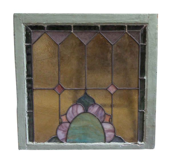 Stained Glass Window with Wood Frame