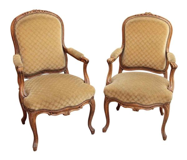 Pair of French Carved Wood Chairs with Tan Upholstery