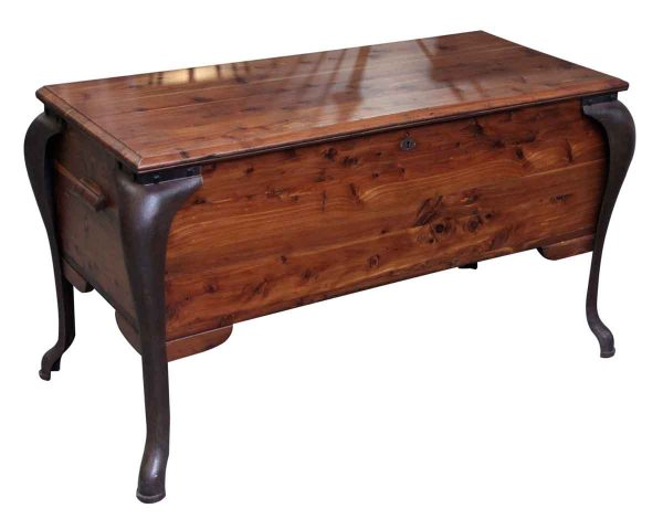 Vintage Red Cedar Chest with Cast Iron Legs