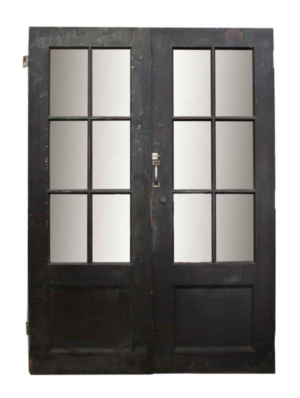 Pair of Wood Doors with Six Glass Panels