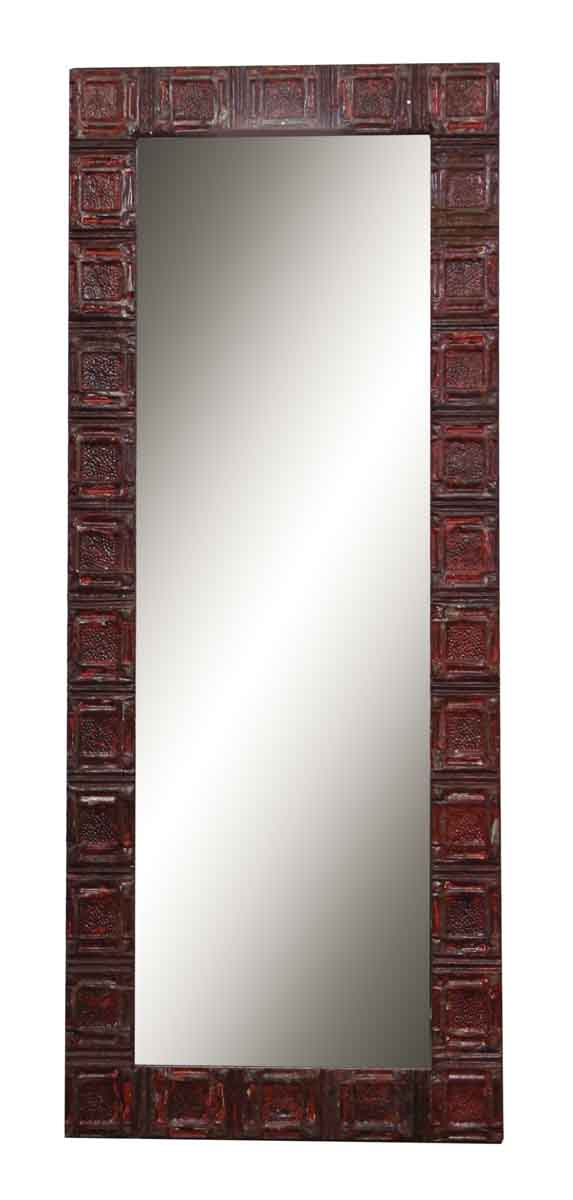 Tall Red Tin Panel Mirror with Square Designs