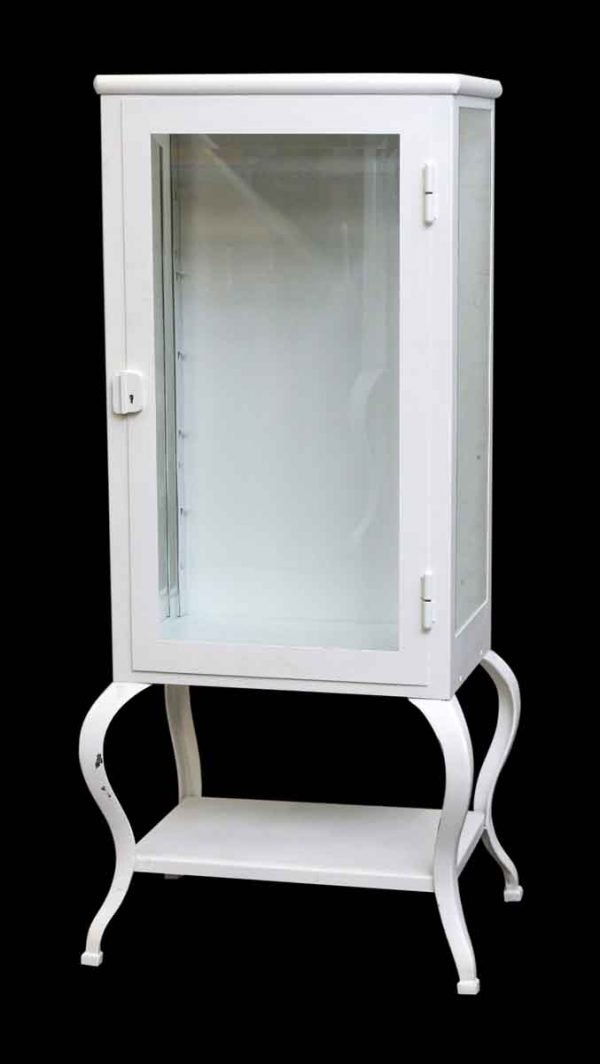 Metal White Medical Cabinet with Glass Shelves and Beveled Glass