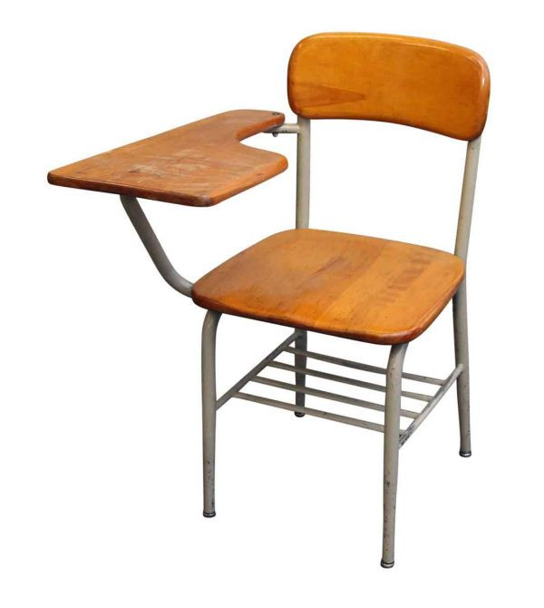 Salvaged School Chairs with Attached Desk