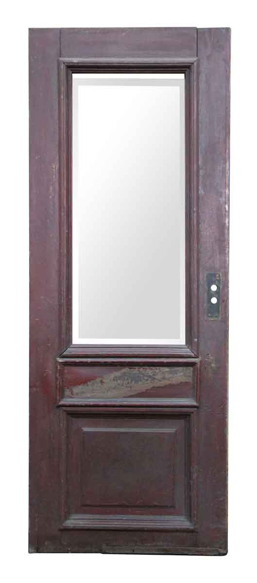 Wooden Door with Large Beveled Glass Panel