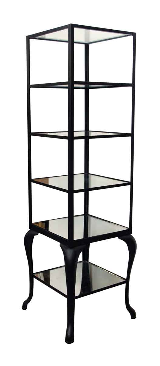 Cast Iron Shelving Unit with Distressed Glass Shelves