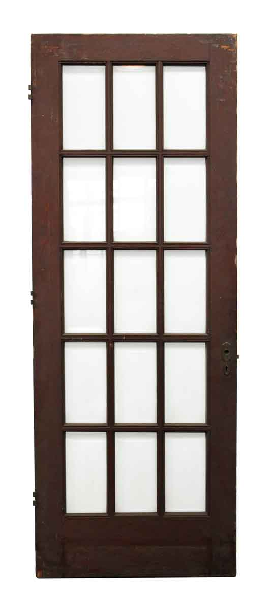 Wood Door with 15 Beveled Glass Panels