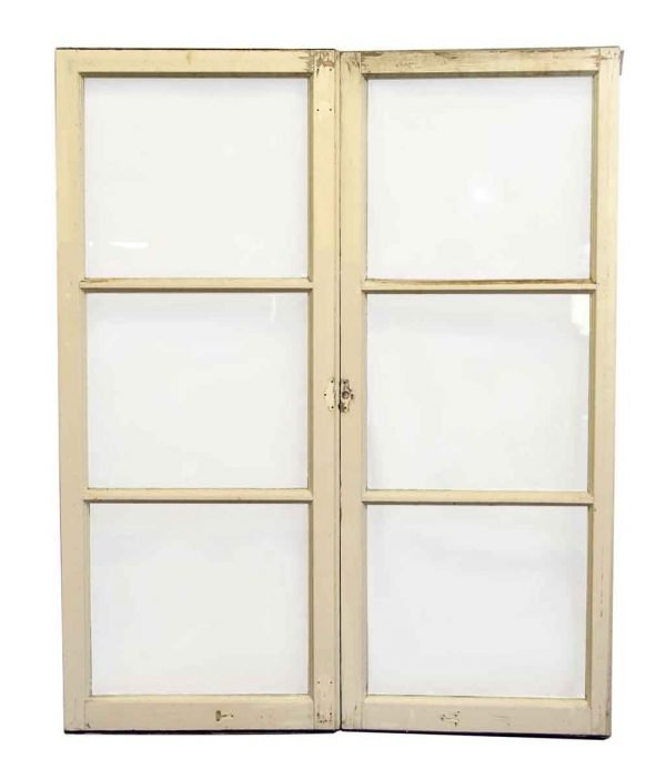 Pair of Windows with Wood Frame & Three Panes