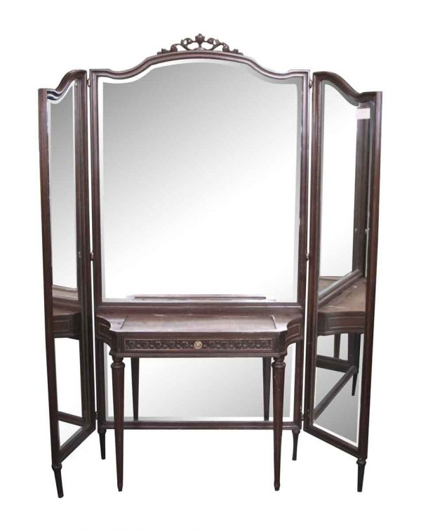 Tri Fold Mirror and Wood Vanity Table