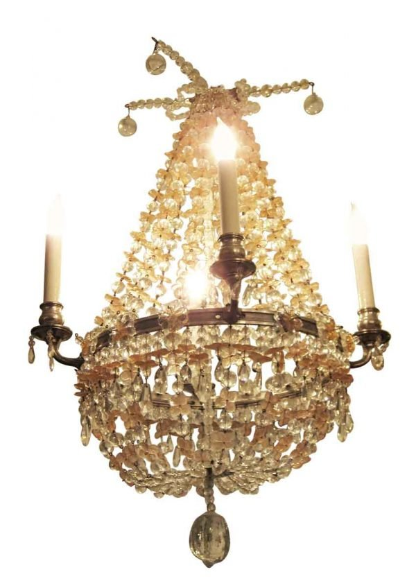 Pink & Clear Beaded Glass Four Arm Basket Chandelier