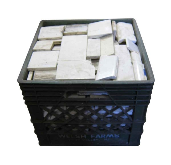 Small Crate of Broken Antique White Tile Pieces