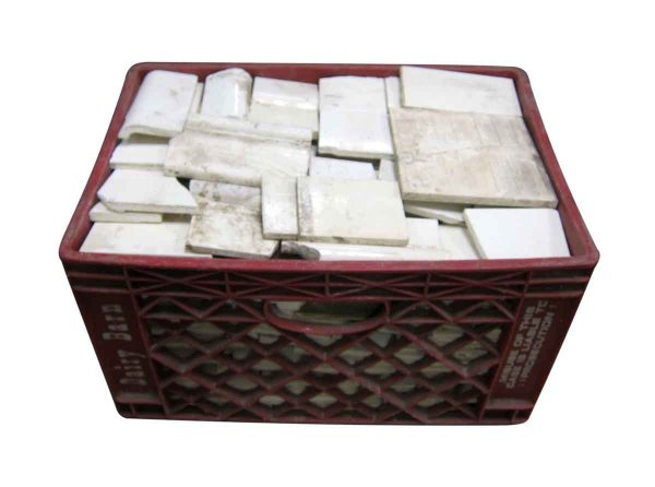 Large Crate of Antique White Broken Tile Pieces