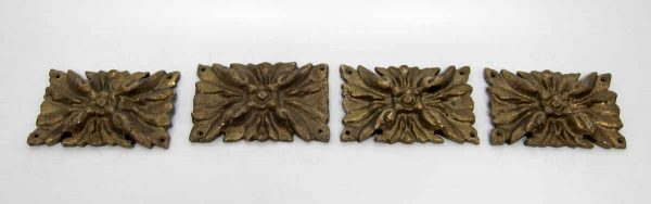 Set of Four Floral Bronze Furniture Accents