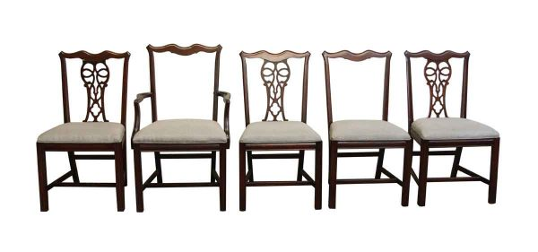 Set of Five Chairs with Gray Upholstery
