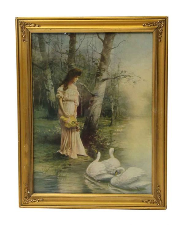 Ornate Framed Portrait of a Woman and Swans