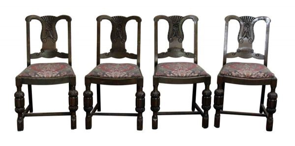 Set of Four Carved Wood Chairs