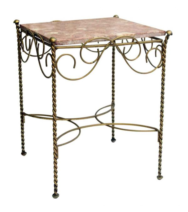 Small Marble Top Table with Wire Base